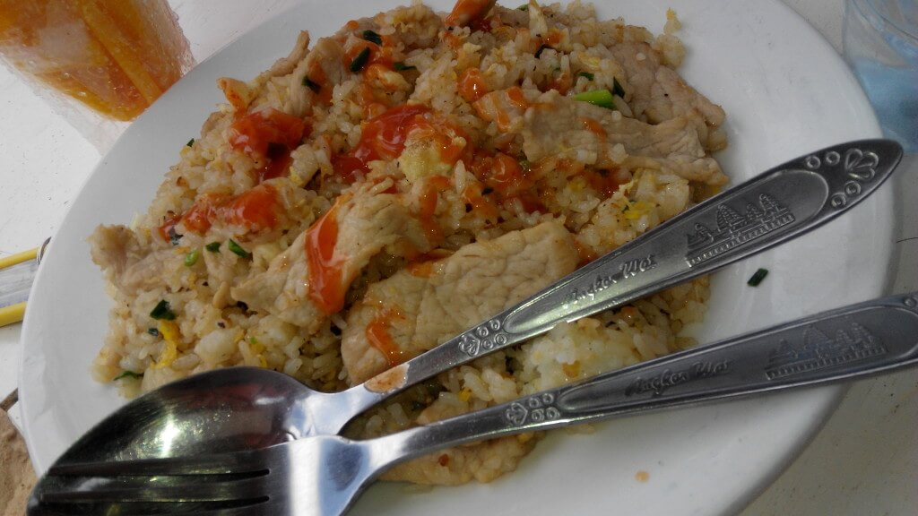 $4 fried rice (above) vs. $2 fried rice (below). Same stuff, just at local prices!