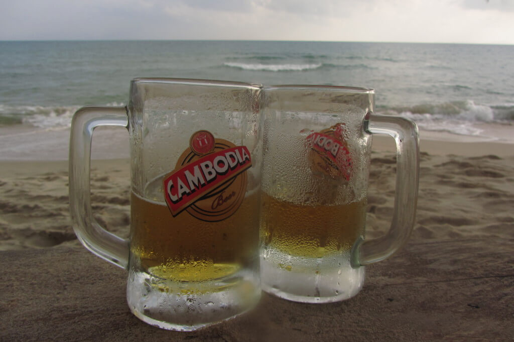 50 cent draft beers all day at Everythang guesthouse in Otres Beach, Cambodia.