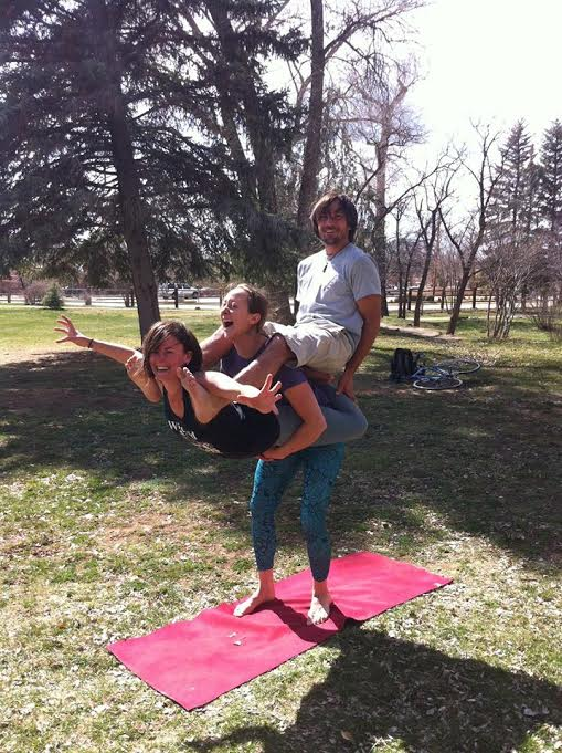 Enjoying acro yoga with new friend connections in Taos, New Mexico.
