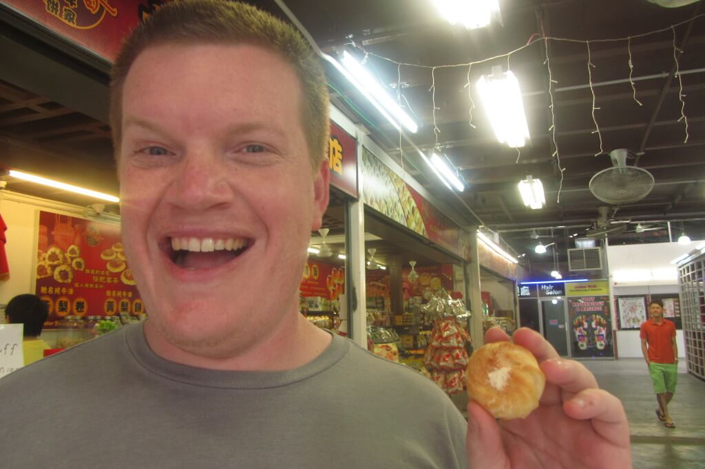 I convinced Stevo that we should try durian cream puffs. This naive smile didn't last for long...If you've never tried durian, it's kind of like eating soft candy in a port-o-potty. Mmmm...