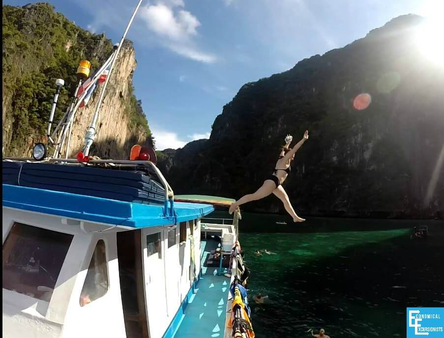 Jumping off a boat in Maya Bay.