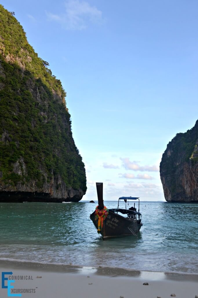 A long tail boat in Maya Bay.