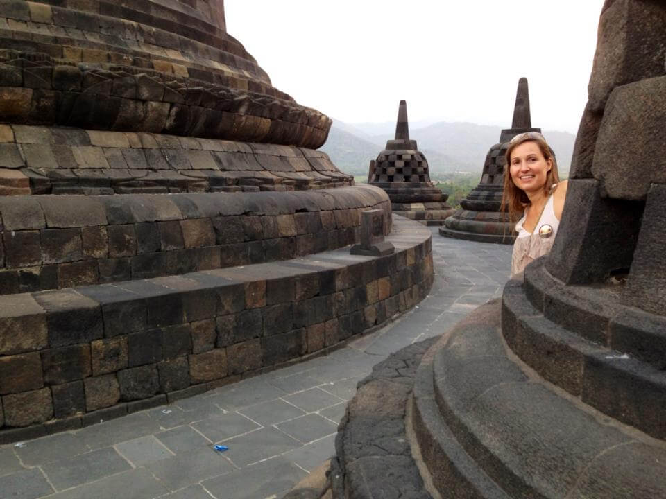 A photo from Borobodur temples at sunset, a good contender of Angkor Wat.